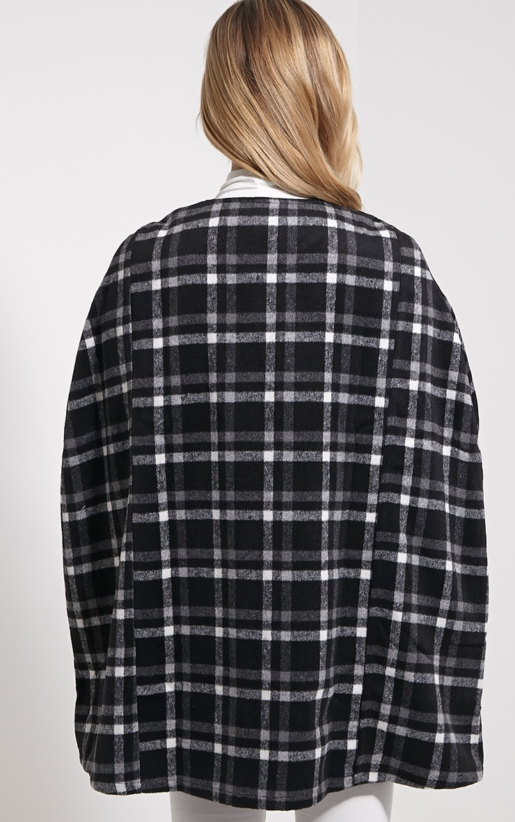 Justine Black Checked Wool Cape 2