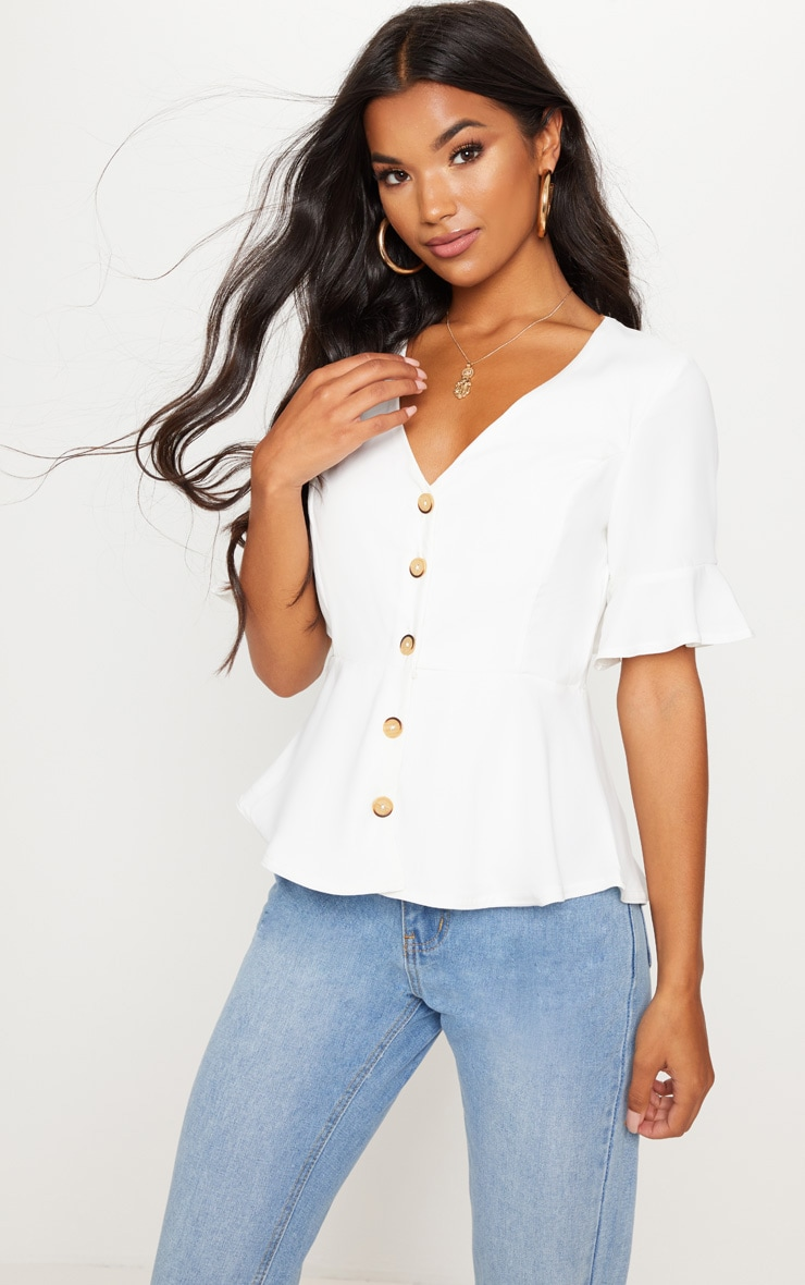 f8a62977 White Button Down Peplum Blouse | Tops | PrettyLittleThing USA