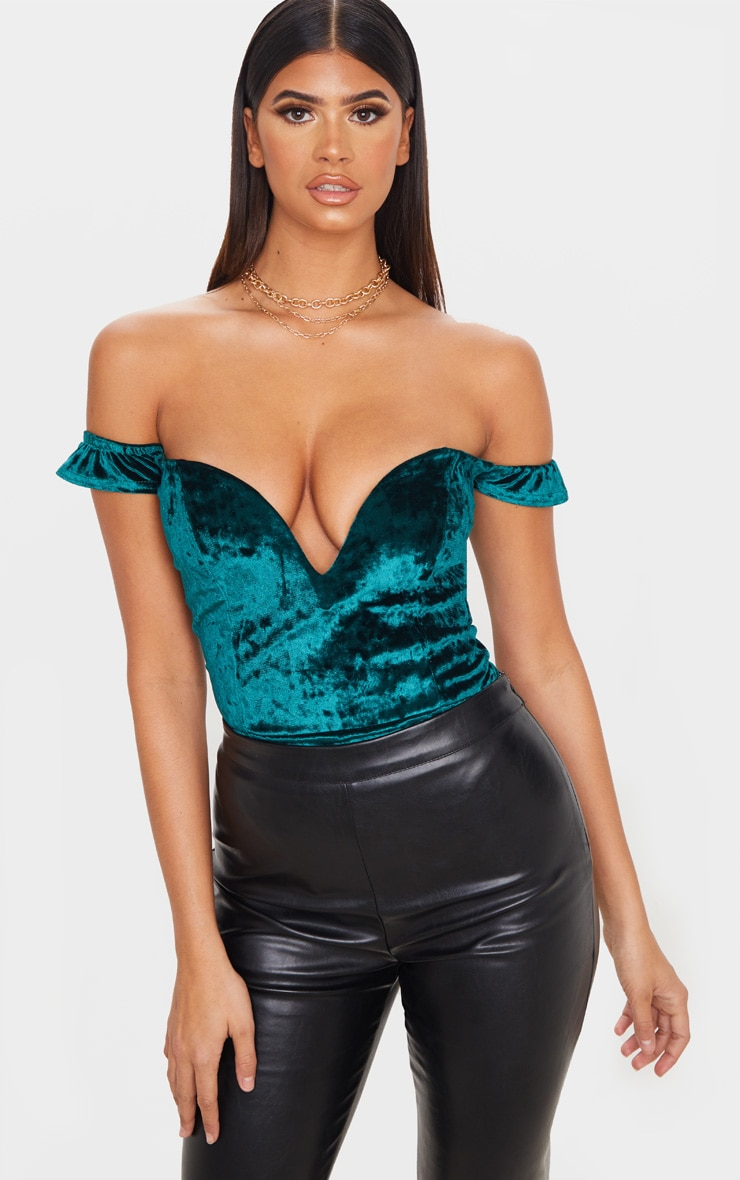 Emerald Green Crushed Velvet V Wire Bardot Bodysuit 2