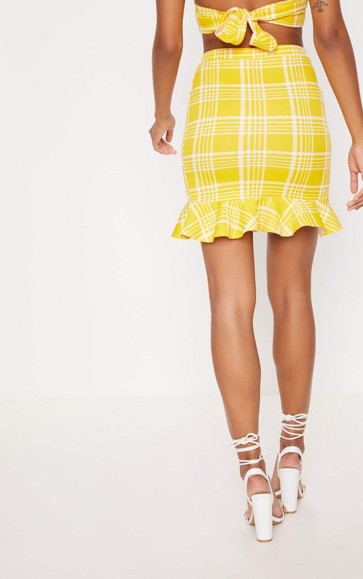 Yellow Check Print Frill Detail Mini Skirt 4