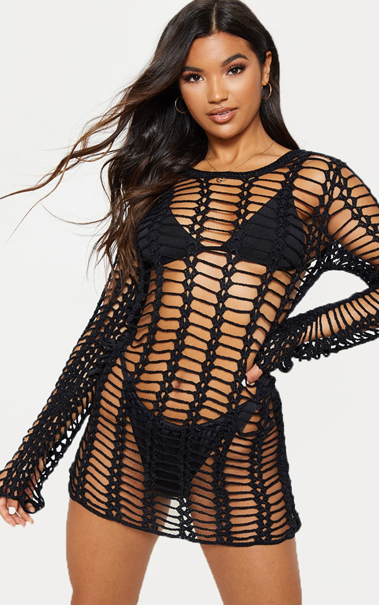 Black Crochet Ladder Detail Long Sleeve Dress 3