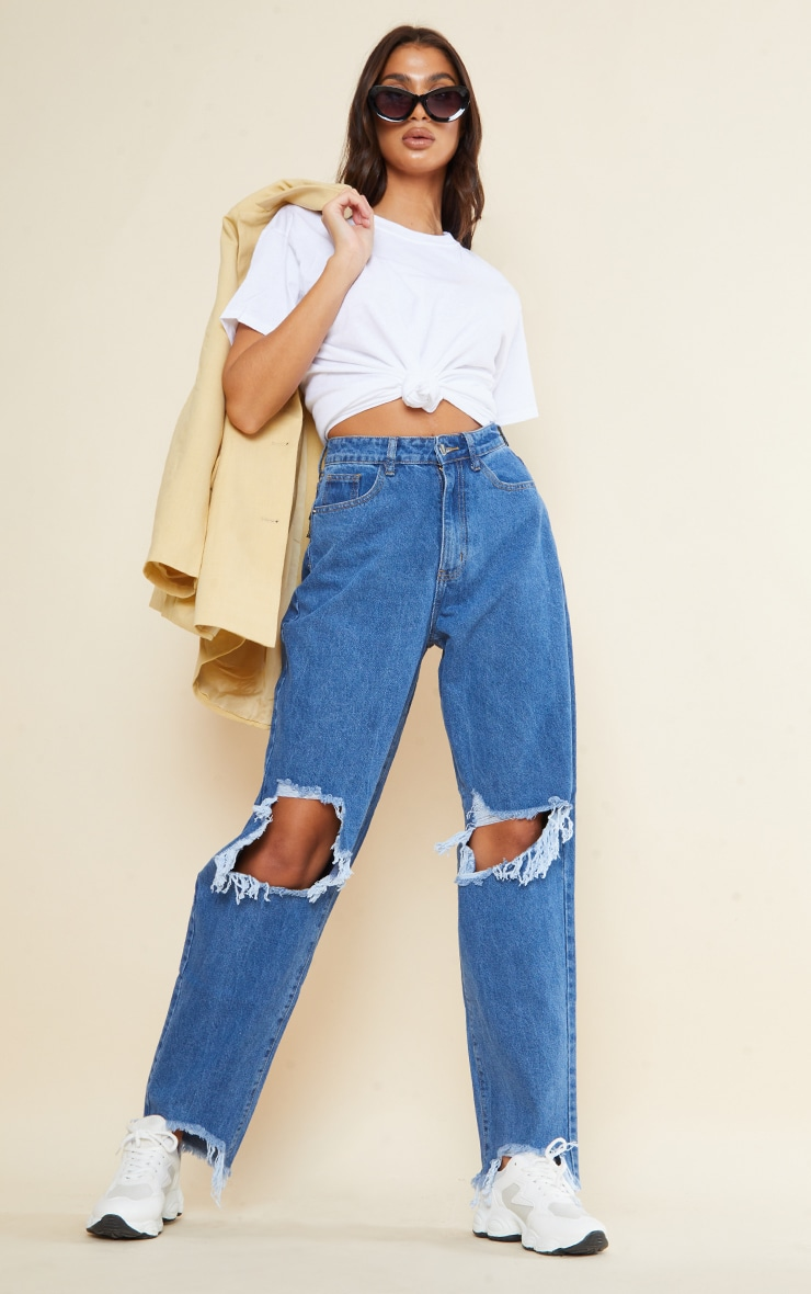 PRETTYLITTLETHING Tall Mid Blue Extreme Ripped Hem Boyfriend Jeans 1