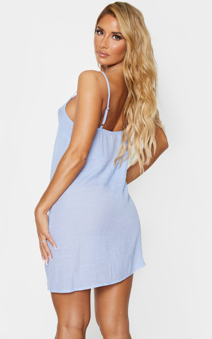 Baby Blue Linen Look Strappy Cami Beach Dress 2