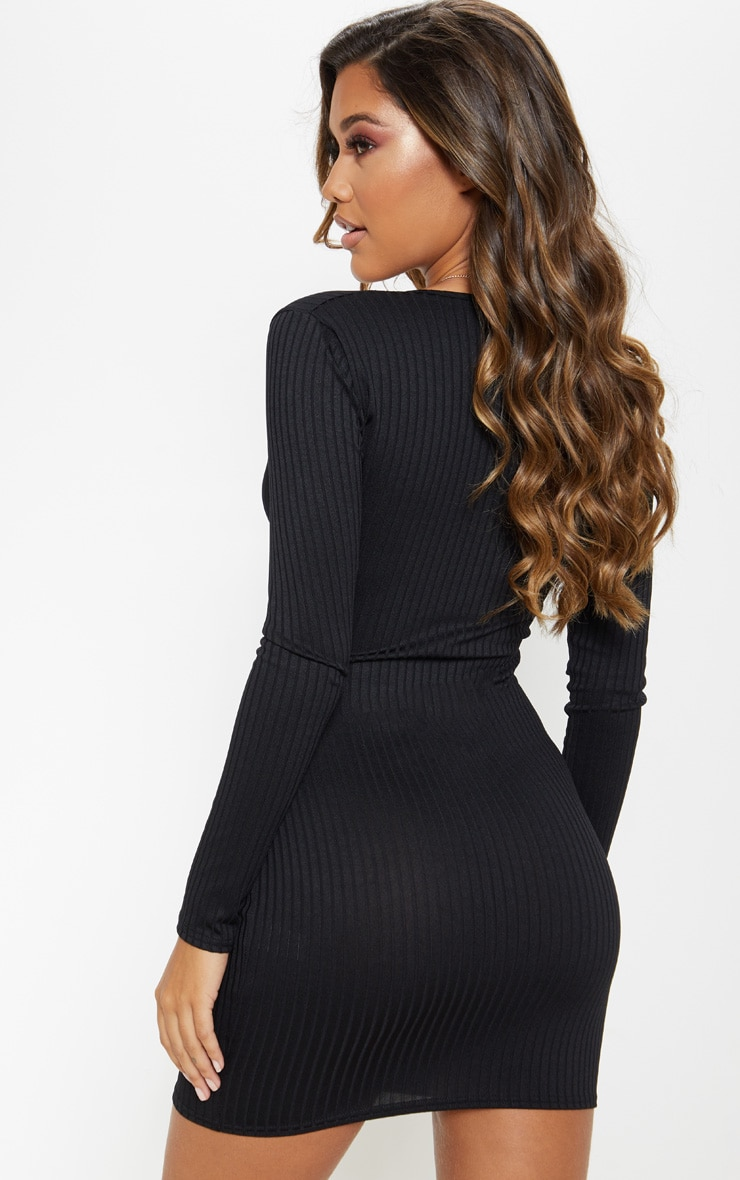 Black Ribbed Plunge Long Sleeve Bodycon Dress 2