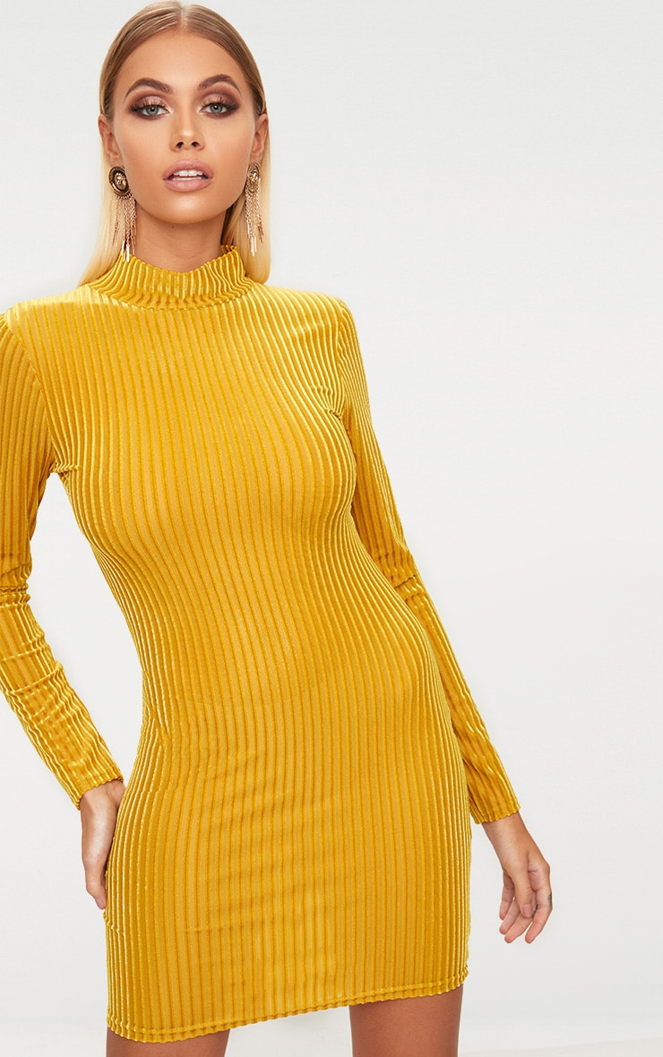 Mustard High Neck Mesh Striped Velvet Long Sleeve Bodycon Dress 1