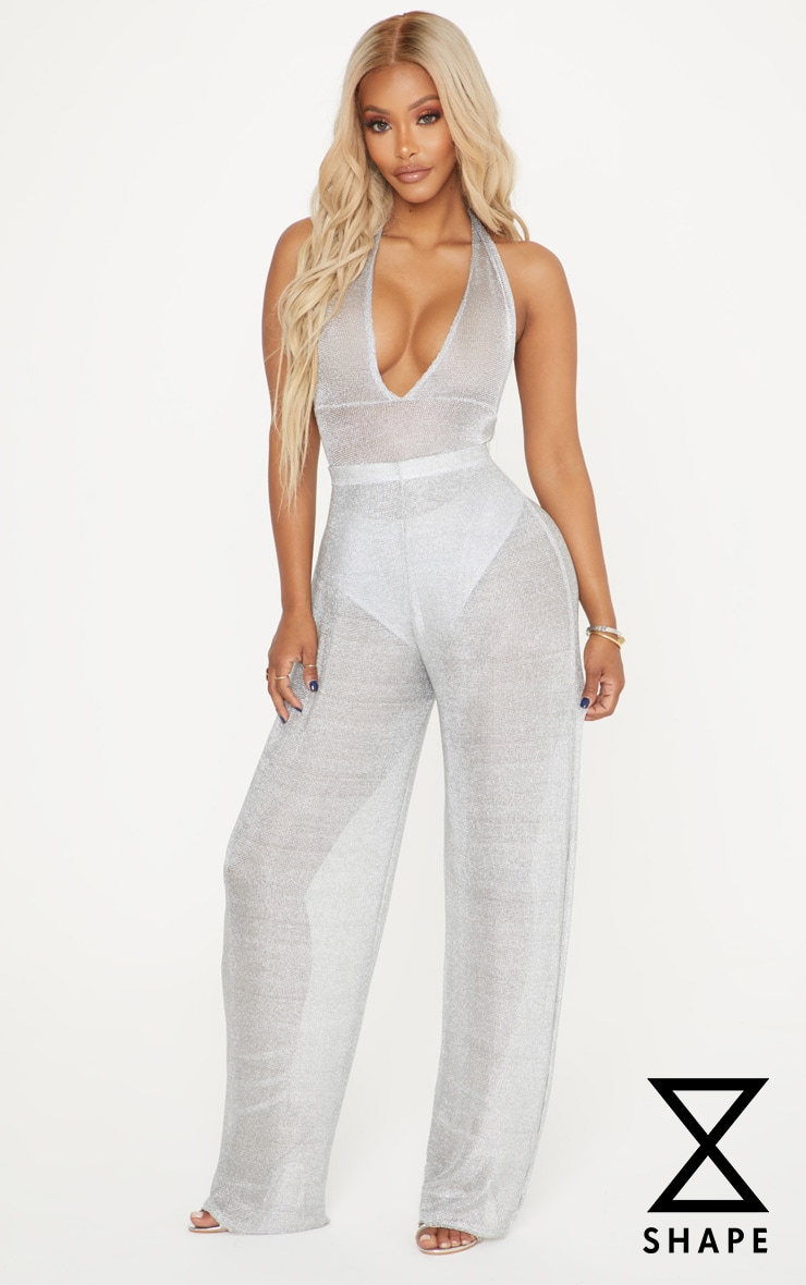 Shape Silver Sheer Knitted Wide Leg Trouser