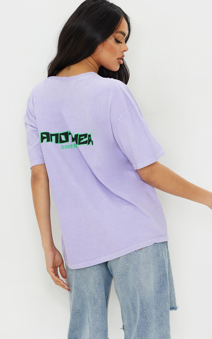 Lilac Another Dimension Front & Back Printed Washed T Shirt 2