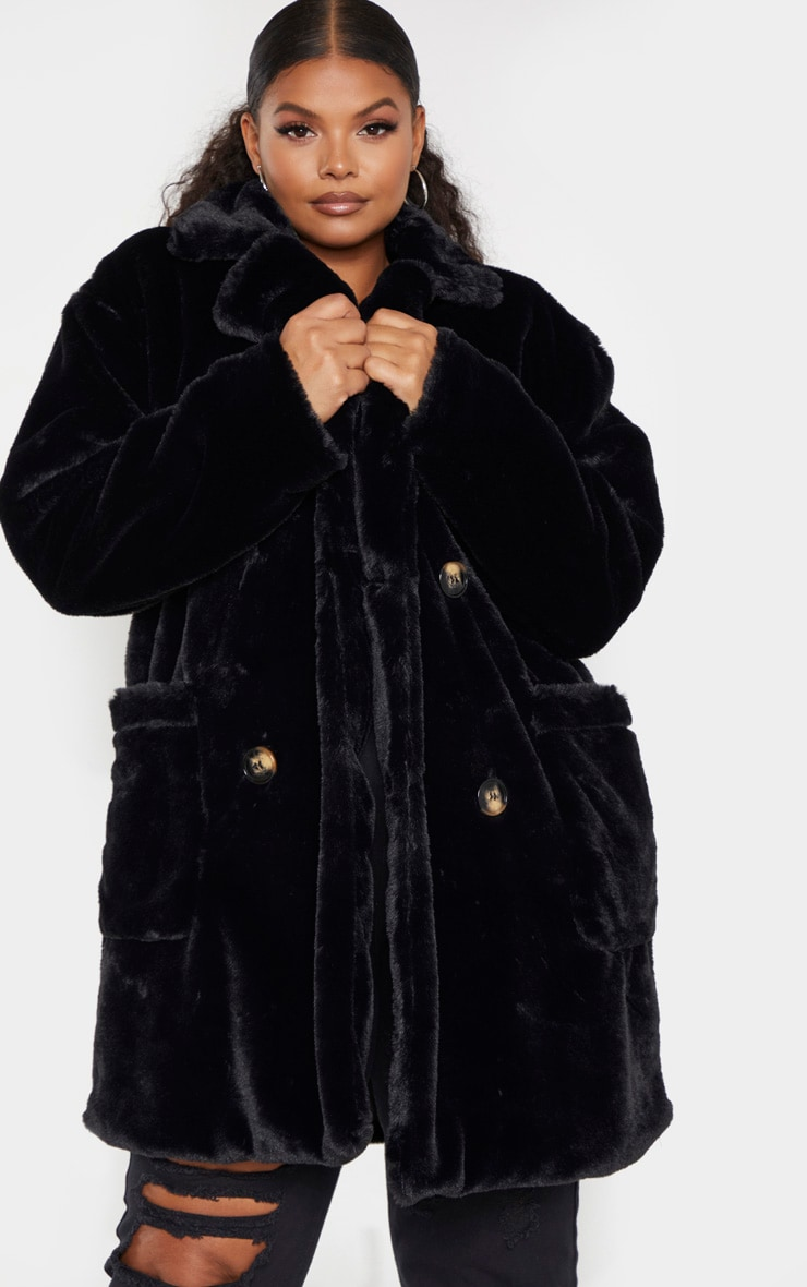 Plus Black Faux Fur Double Breasted Coat 1