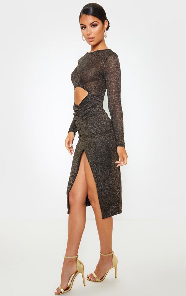 Robe mi-longue noire transparente à paillettes découpée 4