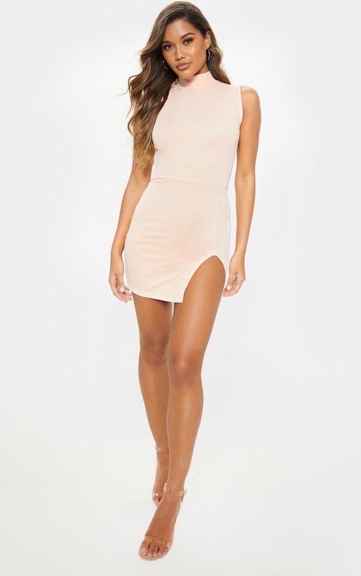 Nude High Neck Sleeveless Bodycon Dress 1