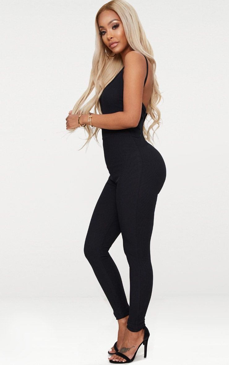 Shape Black Ribbed Square Neck Jumpsuit 4