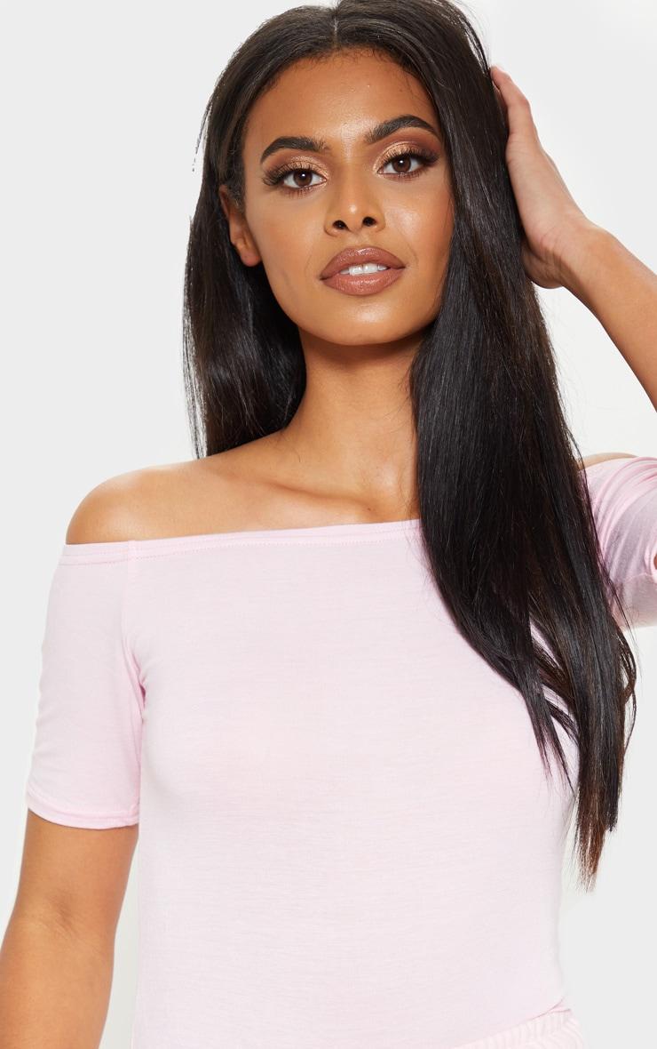 Baby Pink Short Sleeve Bardot Thong Bodysuit 6