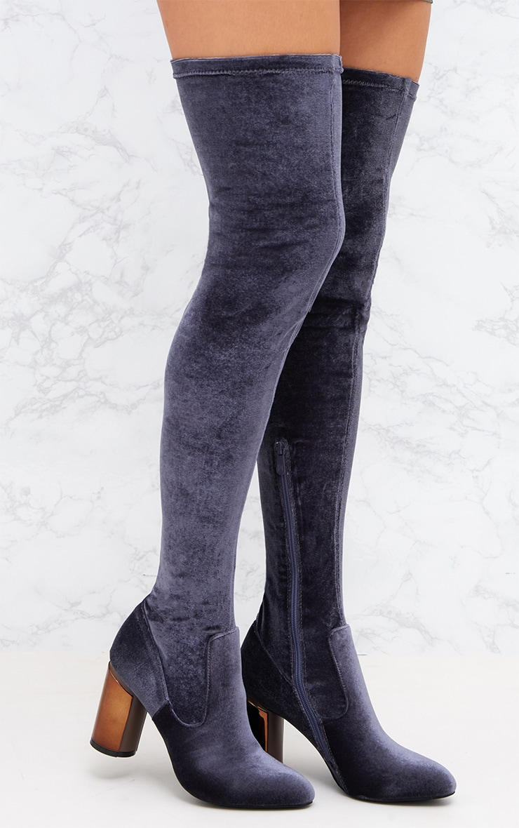 Grey Velvet Metal Heel Over The Knee Boot 1