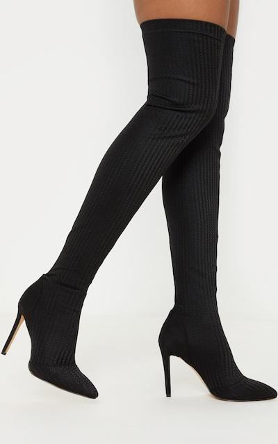 Black Thigh High Sock Boot