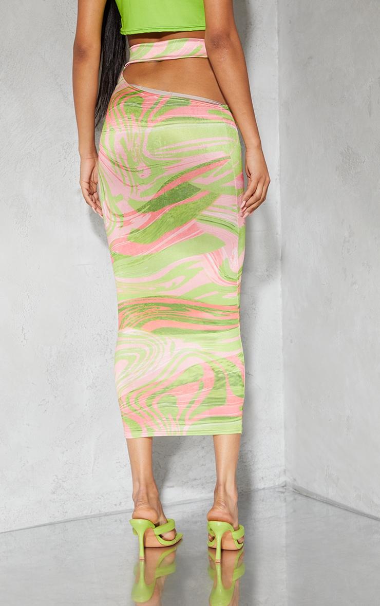 Lime Swirl Print Slinky Cut Out Waist Detail Midi Skirt 3