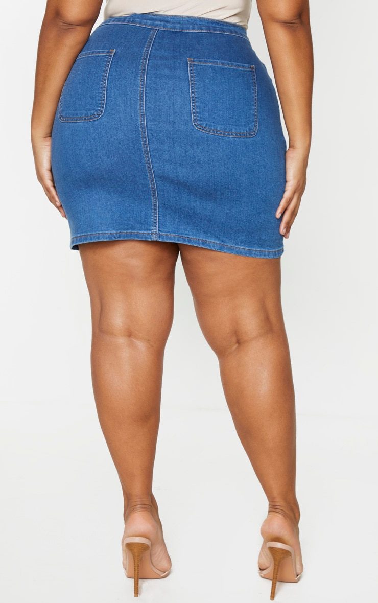Plus Mid Blue Wash Disco Fitted Denim Skirt 3