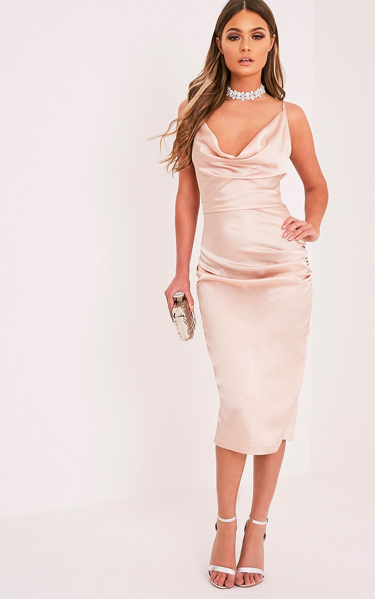 Jaydia Champagne Silky Cowl Neck Midi Dress 1