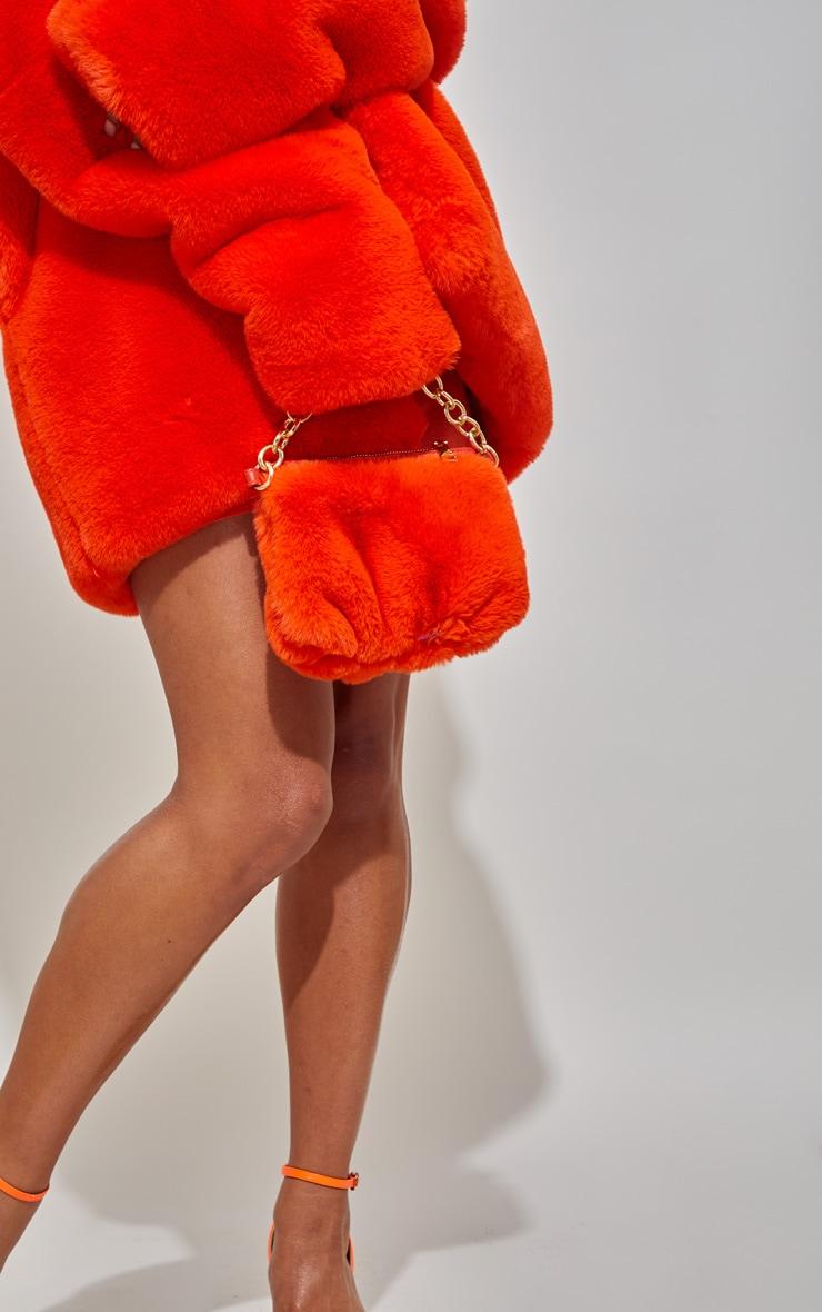 Orange Faux Fur Handbag 1