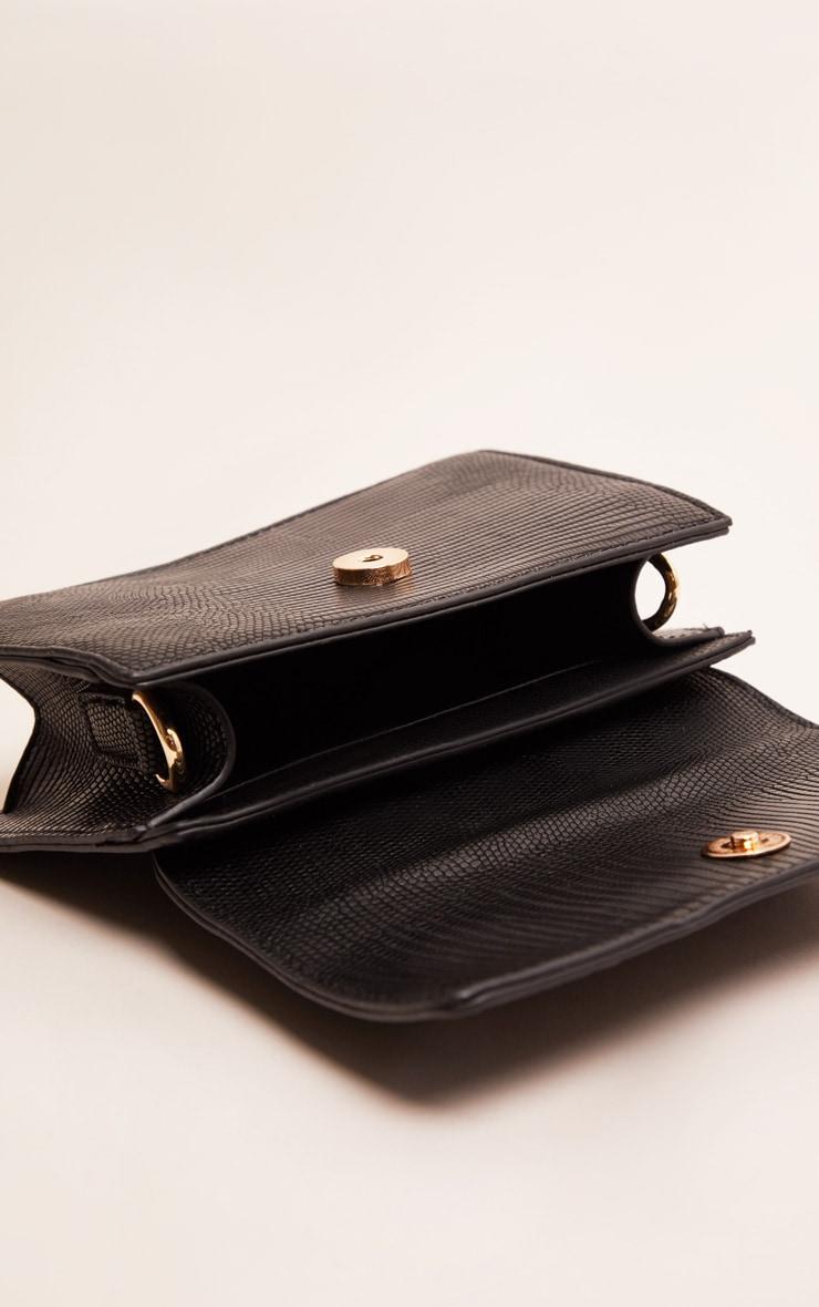 Black Croc Mini Handle Grab Bag 5