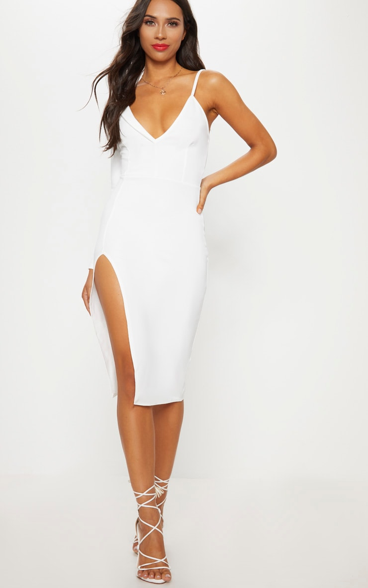 White Asymmetric Tux Style Split Leg Midi Dress 1