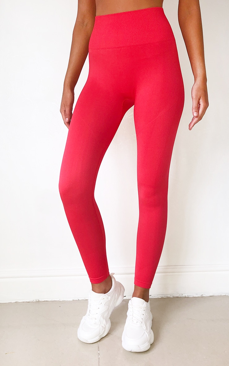 Red High Waist Seamless Gym Leggings 2