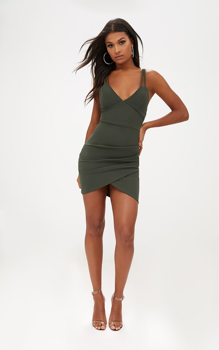 Khaki Double Strap Wrap Skirt Bodycon Dress 4