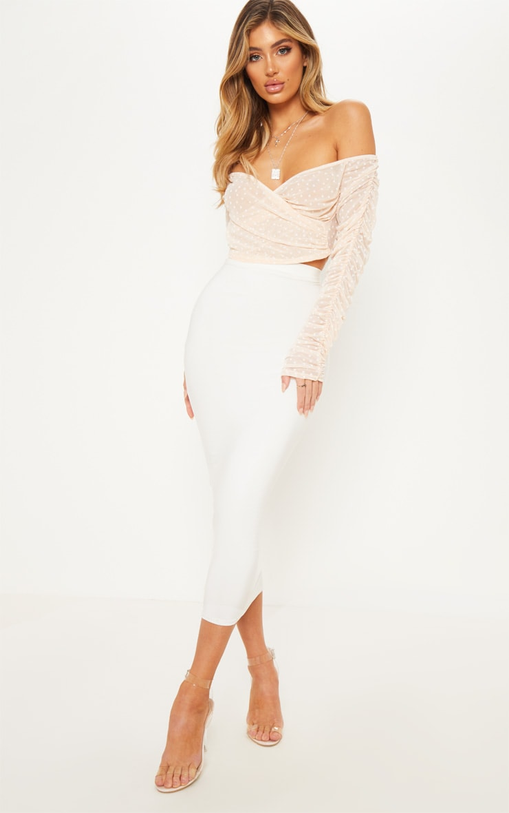 Nude Dobby Mesh Sheer Ruched Sleeve Bardot Crop Top 4