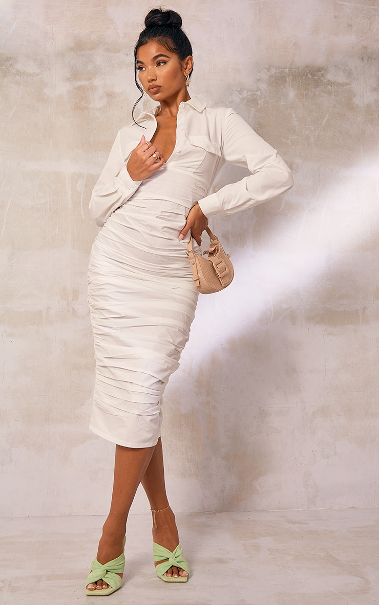 White Pocket Detail Long Sleeve Ruched Midi Shirt Dress 1