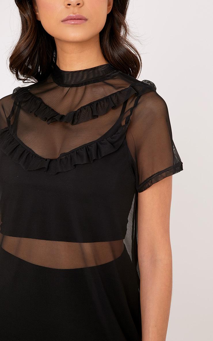 Betty Black Mesh Frill T Shirt Dress 4