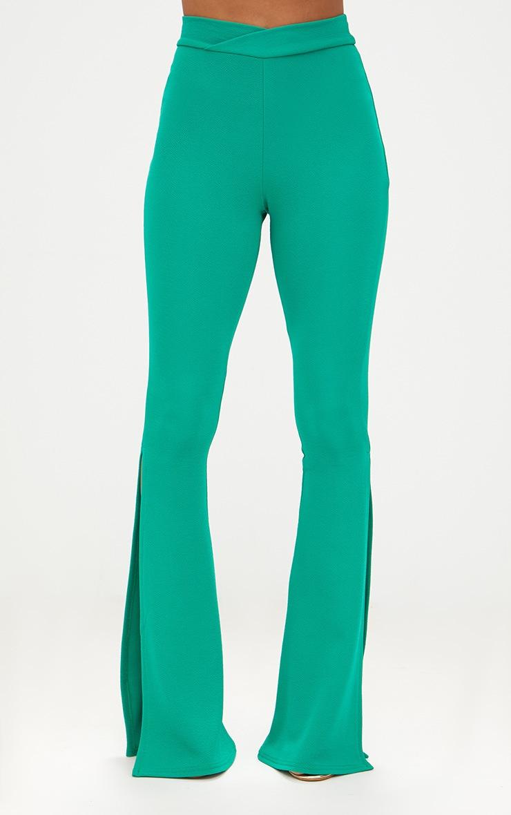 Petite Emerald Green Cross Waist Skinny Split Flare Trousers 2