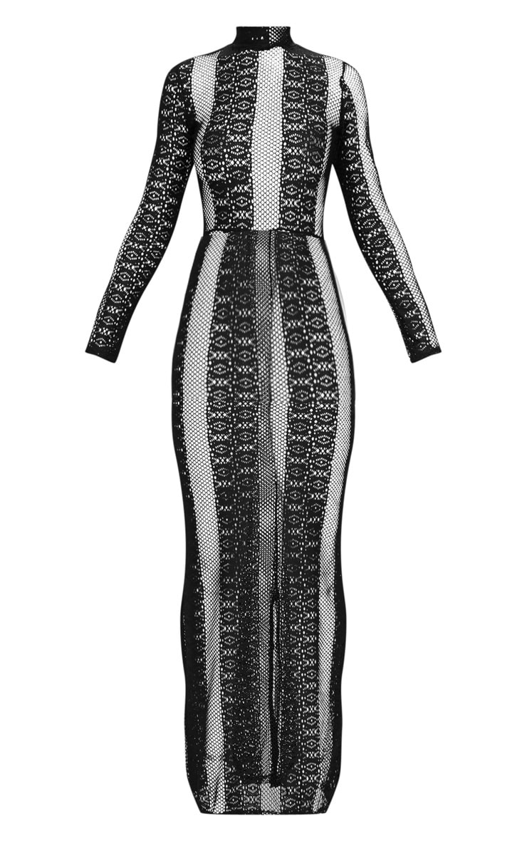 Black Lace Sheer Maxi Dress 3