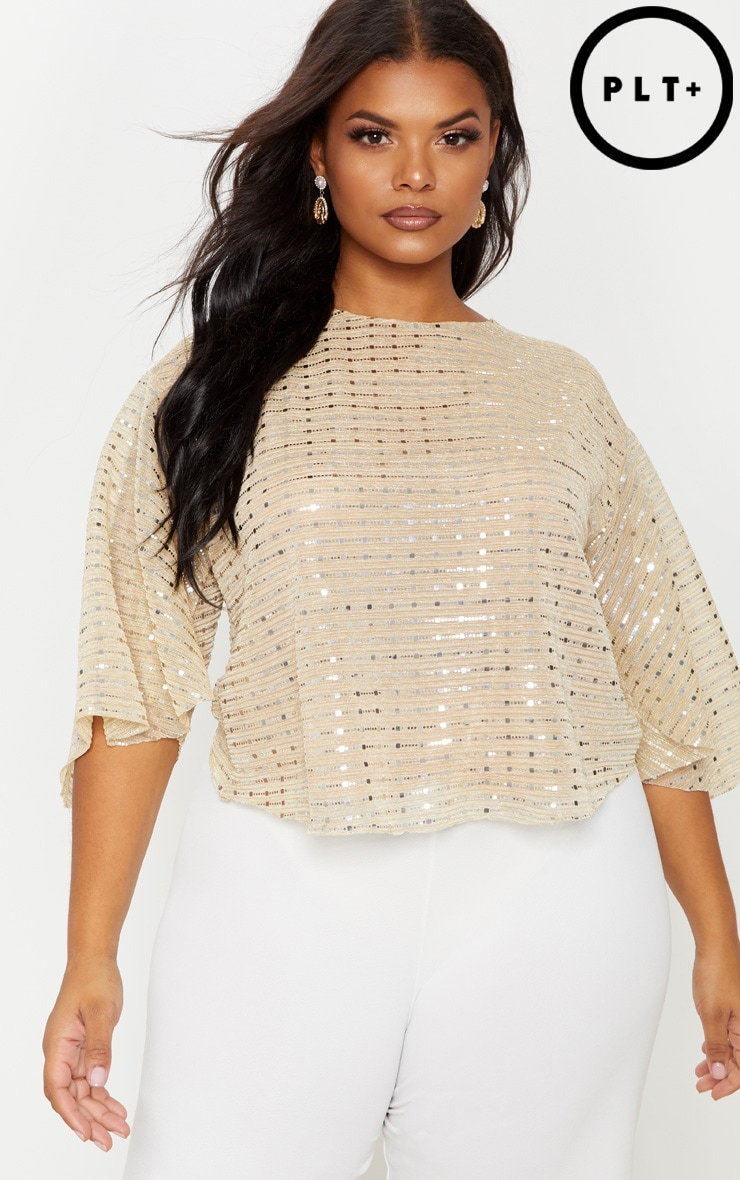 Plus Gold Sequin Batwing Floaty Top
