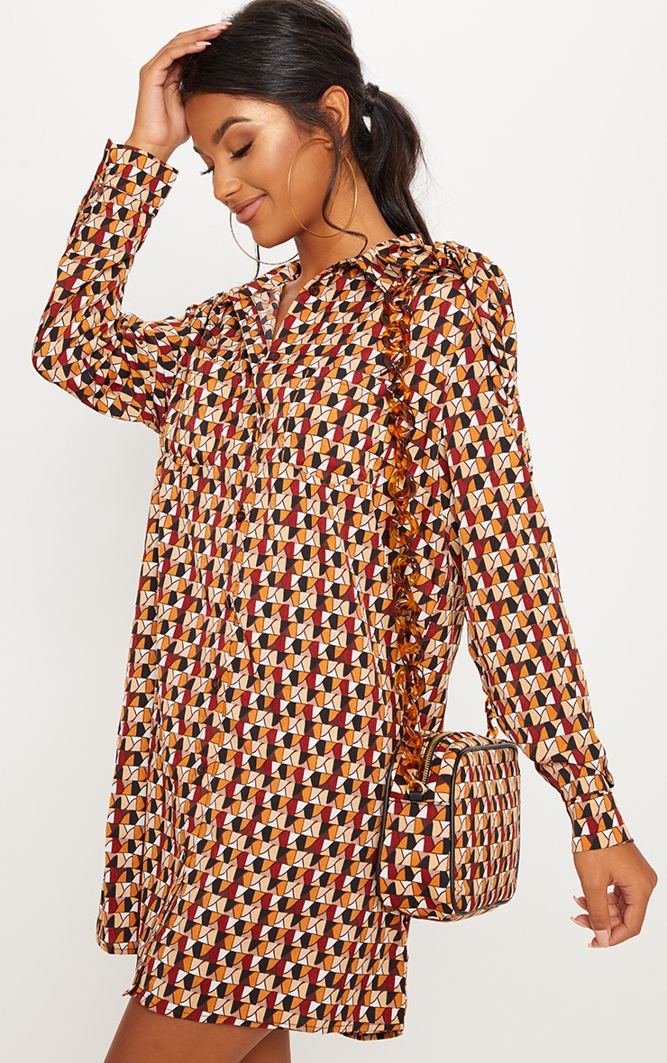 Brick Multi Geometric Print Shirt Dress 1
