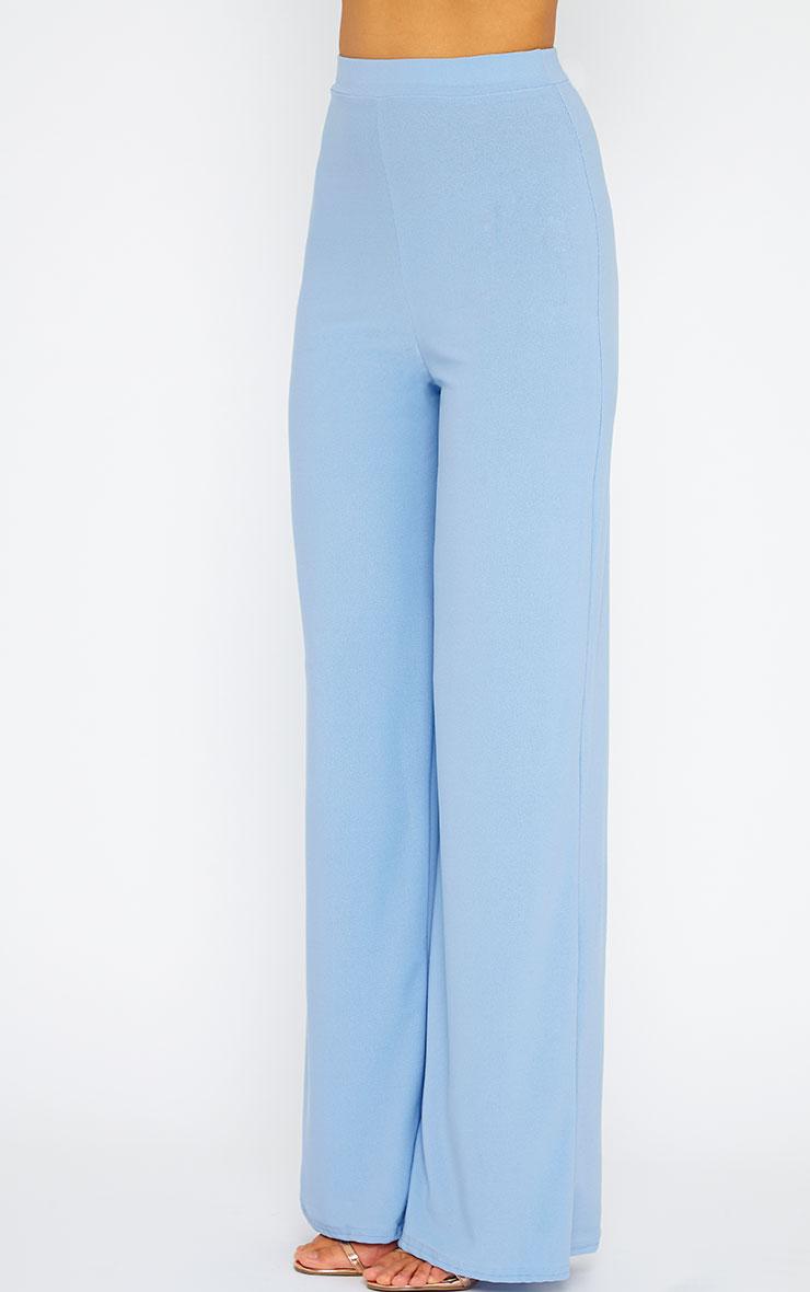 Zafia Powder Blue Crepe Palazzo Trousers 3
