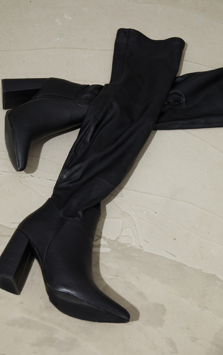 Black Pu Wide Fit Point Toe Over The Knee Boots 3