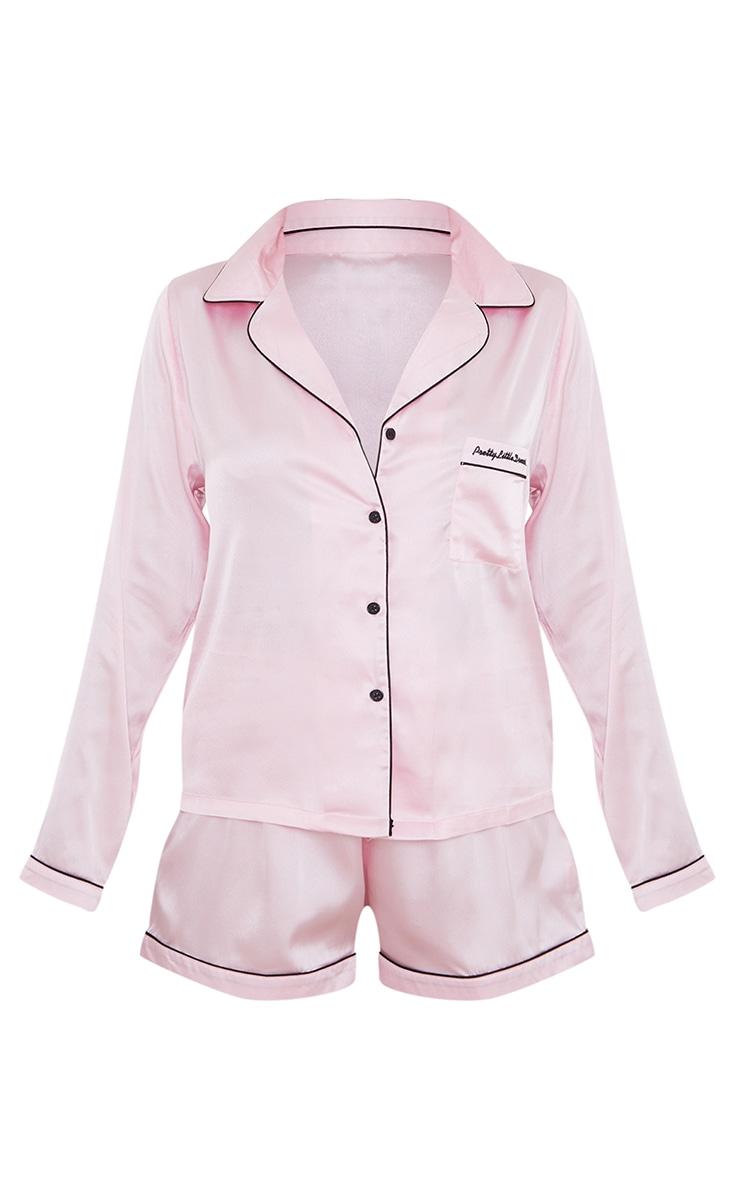 Pretty Little Dreams Pink Satin Long Shirt And Short PJ Gift Set 5