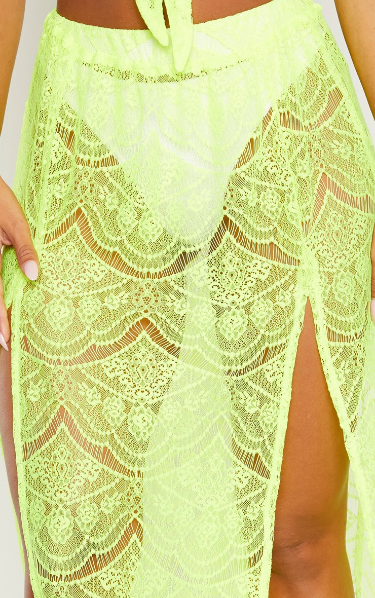 Neon Yellow Lace Split Maxi Beach Skirt 5