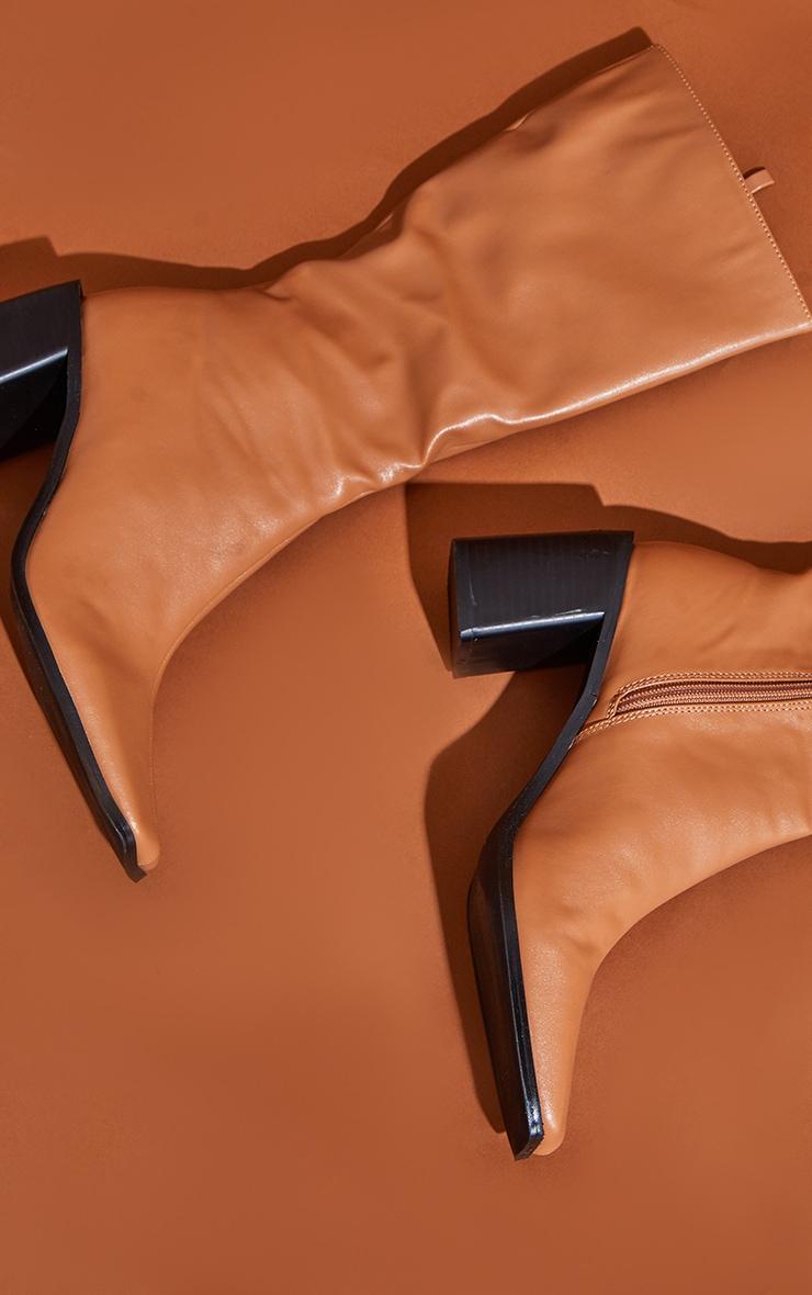 Tan Block Heel Knee Boots 3