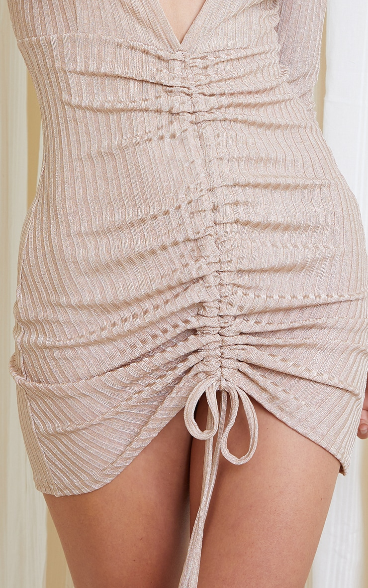 Gold Glitter Rib Long Sleeve Plunge Ruched Bodycon Dress 4