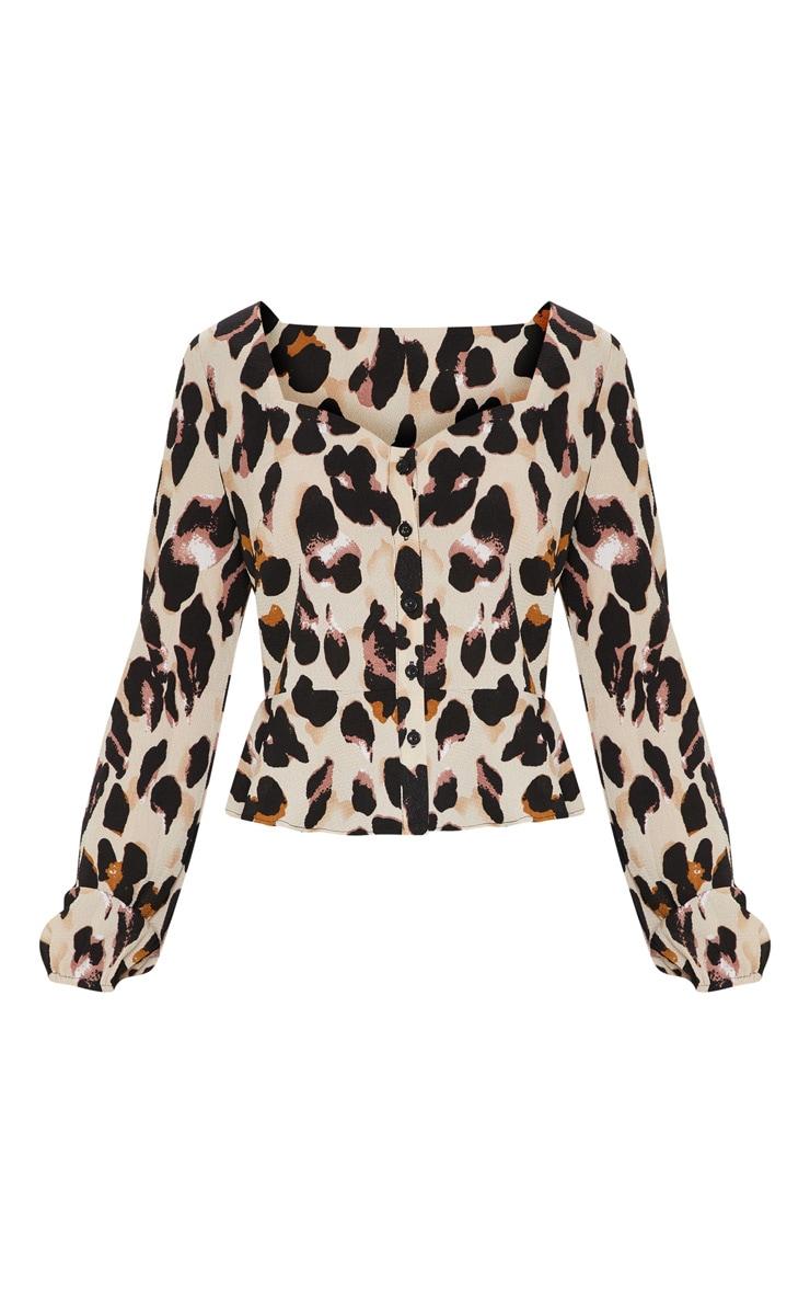 Tan Leopard Peplum Blouse 3