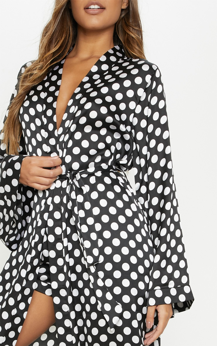 Monochrome Polka Print Long Sleeve Satin Robe 5