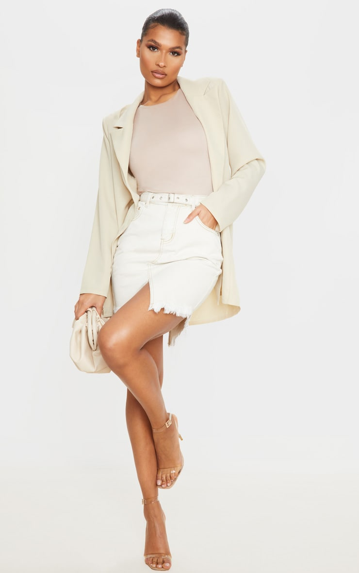 Ecru Cut Out Hem Belted Raw Denim Skirt 1