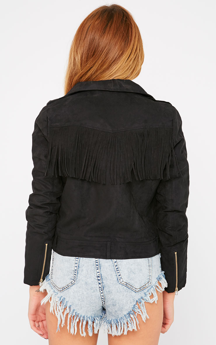Shayelle Black Suede Tassel Padded Jacket 2
