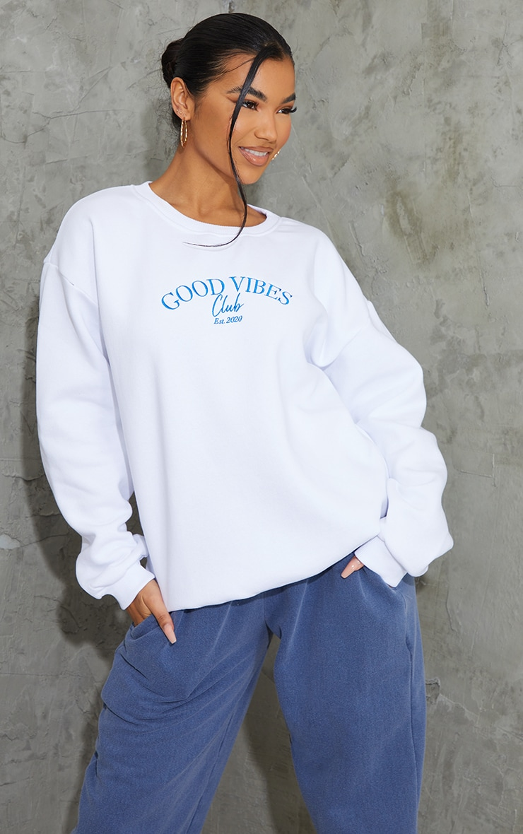 White Good Vibes Club Slogan Embroidered Sweatshirt 1