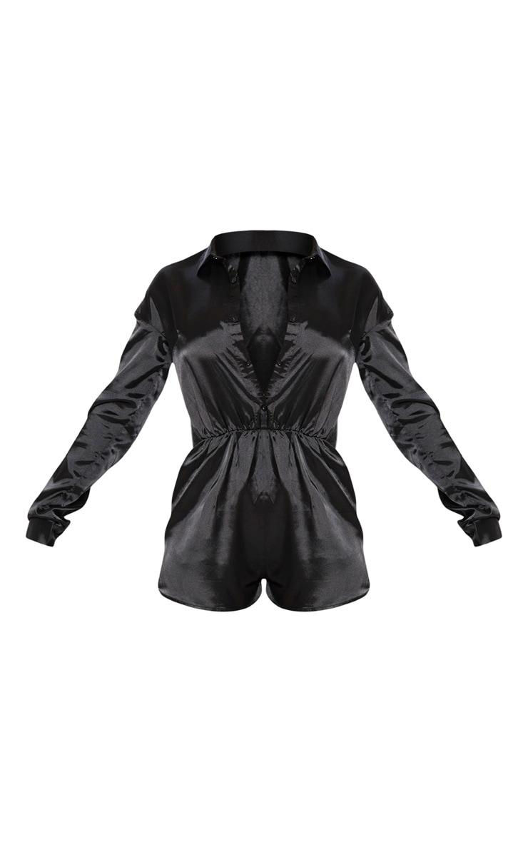 Black Satin Shirt Romper 4