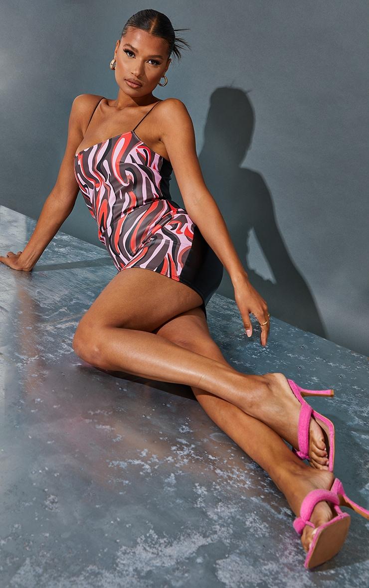 Pink Abstract Print Pu Spaghetti Strap Bodycon Dress 1