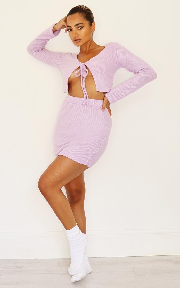 Petite Lilac Brushed Rib Mini Skirt 1