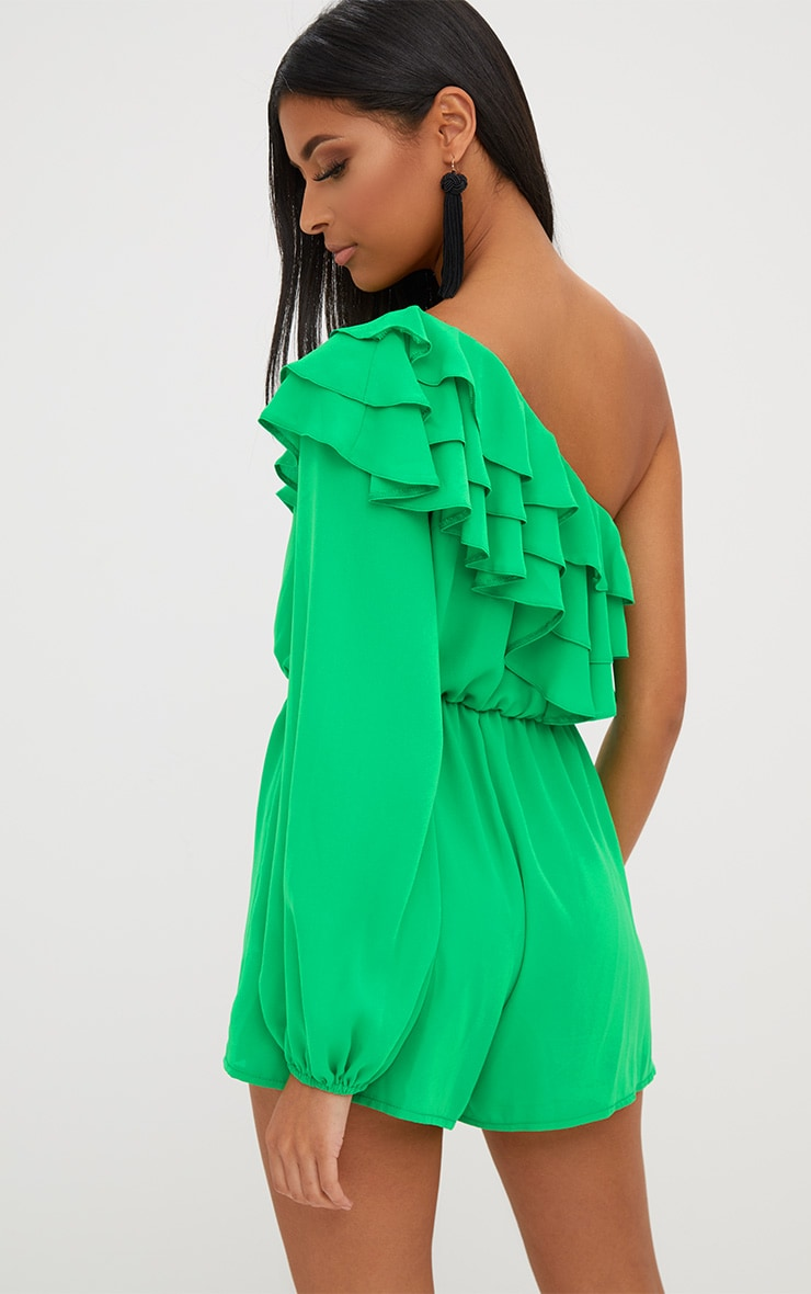 Green Ruffle One Shoulder Playsuit 2