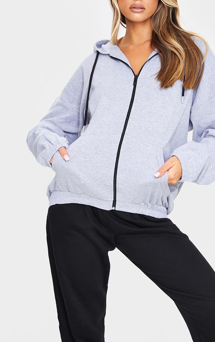 Grey Marl Oversized Pocket Hoodie 4