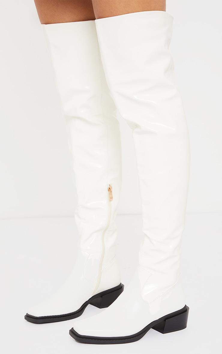 Cream Pu Square Toe Over Knee Western Boots 3
